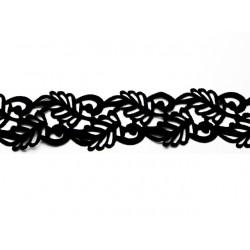 Gipiura Swirl velvet ribbon IRON on BLACK