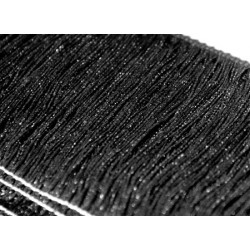 Frędzle fringe Tactel 15cm METALLIC BLACK