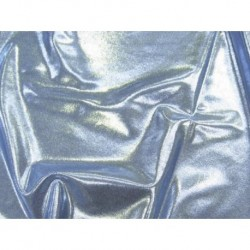 Lycra metalic dot shine SILVER ON LT BLUE