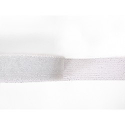 METALLIC CRINOLINE 40MM SILVER ON WHITE