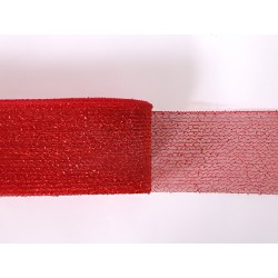 METALLIC CRINOLINE 80MM RED ON RED