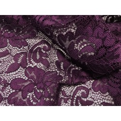 Koronka  Flower STRETCH LACE kolor PLUM