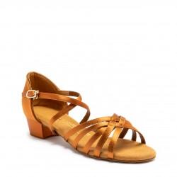 Buty dziewczęce do łaciny G1010 - Tan Satin