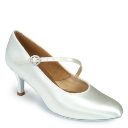 Buty damskie do standardu ICS ROUNDTOE SINGLESTRAP WHITE SATIN ICS RT S/STP DIA