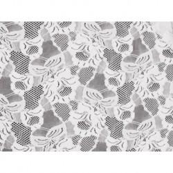 Koronka Floral Cascade STRETCH LACE kolor WHITE – biały
