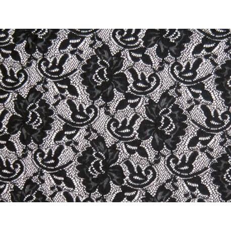 Koronka  Flower STRETCH LACE kolor BLACK – czarny