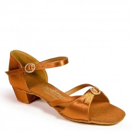 Buty dziewczęce do łaciny NATASHA - TAN SATIN