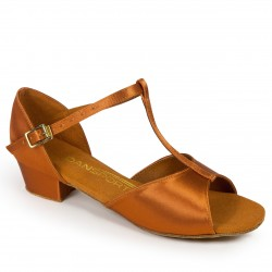 Buty dziewczęce do łaciny G1011 - TAN SATIN