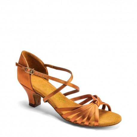 Buty dziewczęce do łaciny G1013 - TAN SATIN