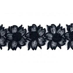 Gipiura Exotic flower ribbon BLACK