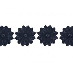 Gipiura Nexus leather effect flower ribbon BLACK