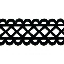 Gipiura Rhombus velvet ribbon IRON on BLACK
